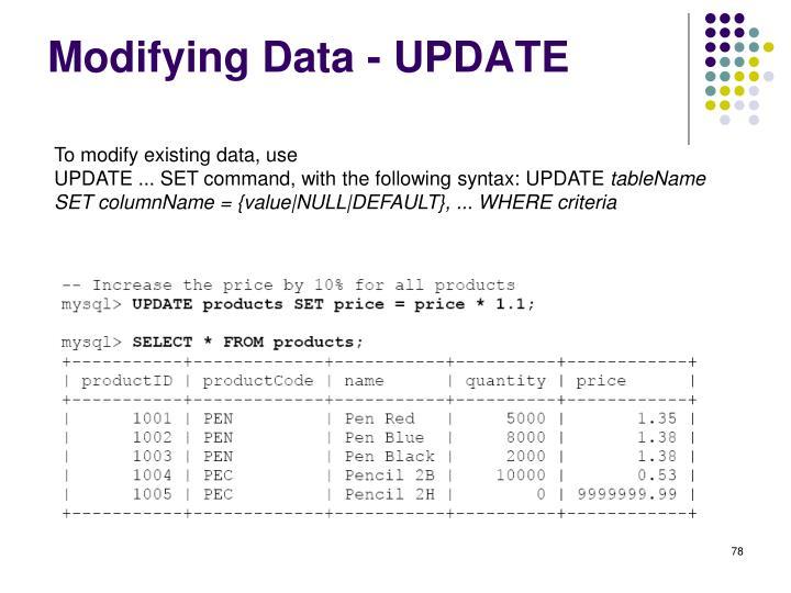 Modifying Data - UPDATE