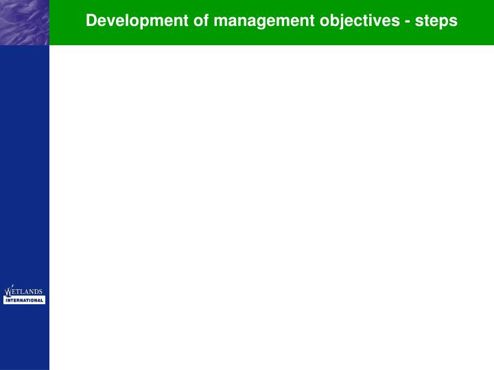 Development of management objectives - steps