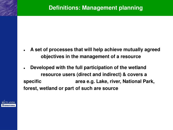 Definitions: Management planning