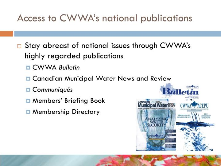 Access to CWWA's national publications