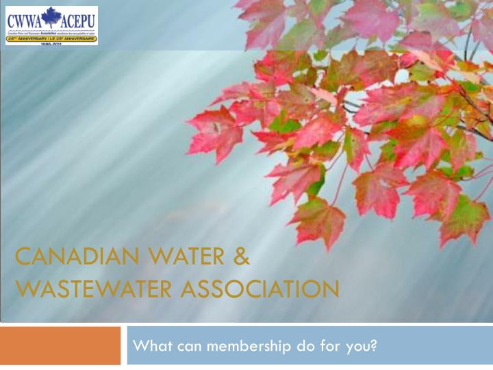Canadian water wastewater association