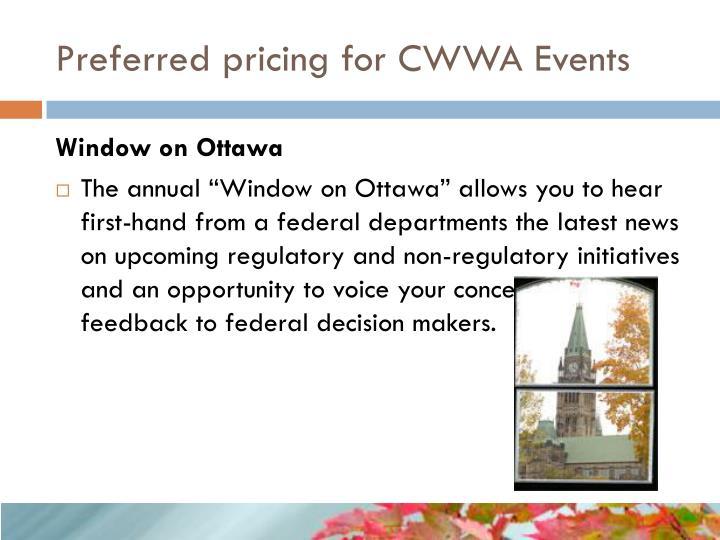 Preferred pricing for CWWA Events