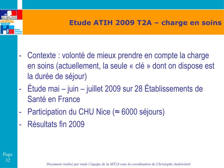 Etude ATIH 2009 T2A – charge en soins