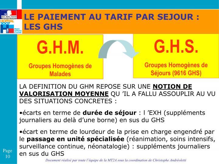 LE PAIEMENT AU TARIF PAR SEJOUR : LES GHS