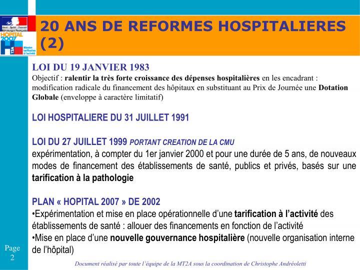 20 ANS DE REFORMES HOSPITALIERES