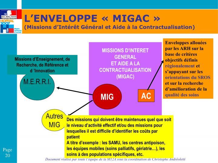 L'ENVELOPPE «MIGAC»