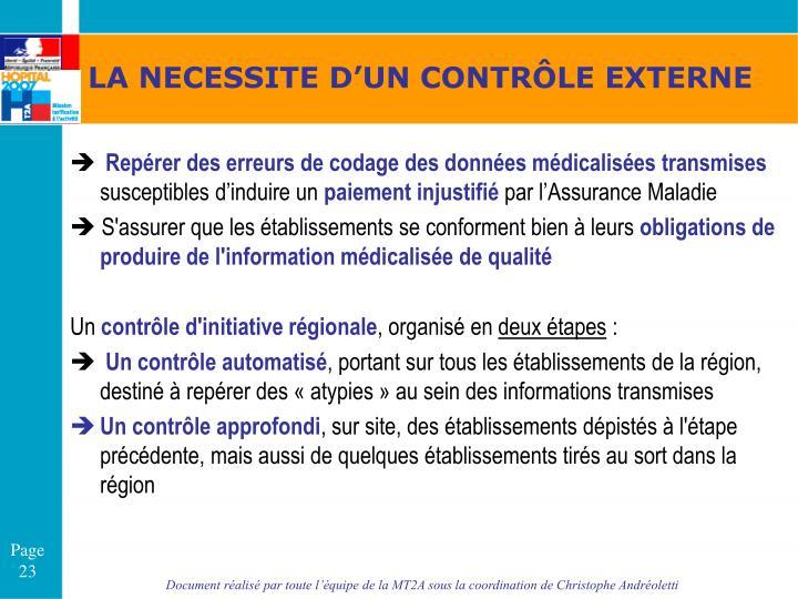LA NECESSITE D'UN CONTRÔLE EXTERNE