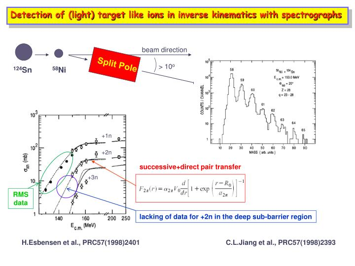 Detection of (light) target like ions in inverse kinematics with spectrographs