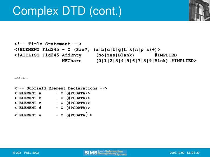 Complex DTD (cont.)