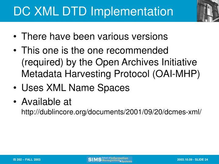 DC XML DTD Implementation