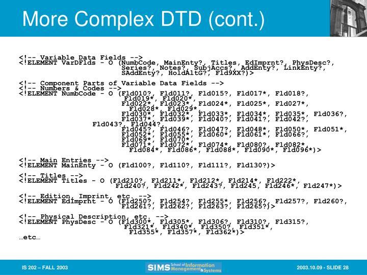 More Complex DTD (cont.)