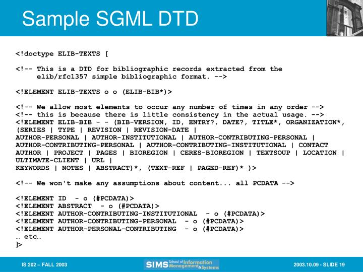 Sample SGML DTD