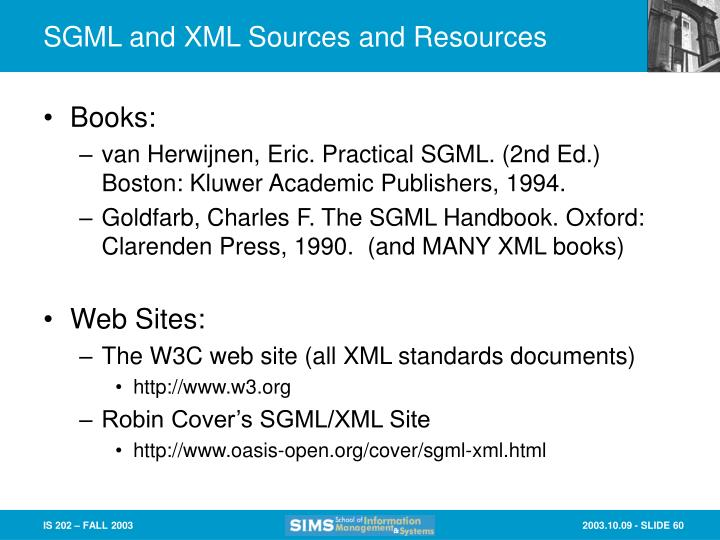 SGML and XML Sources and Resources