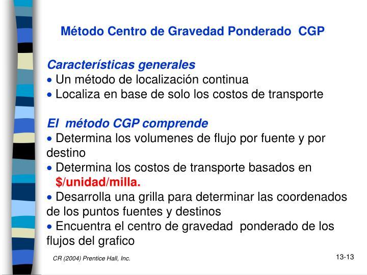 Método Centro de Gravedad Ponderado  CGP