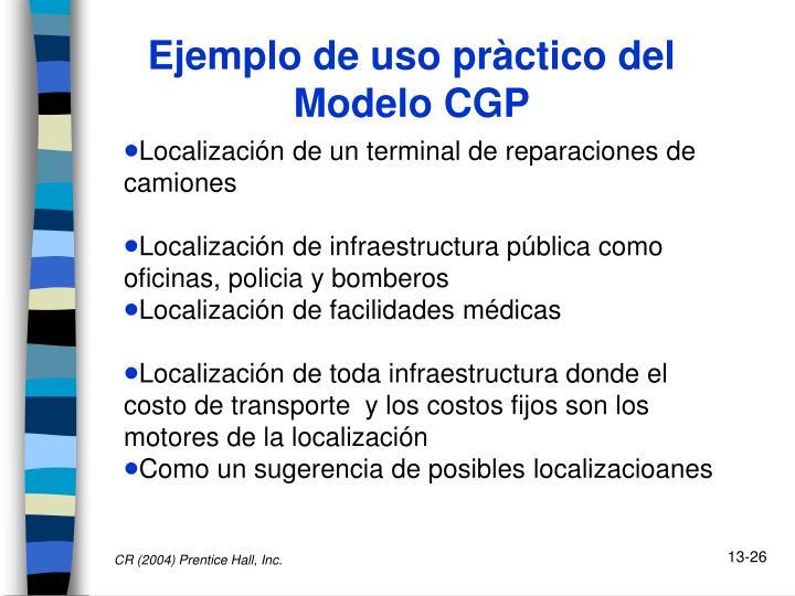 Ejemplo de uso pràctico del Modelo CGP