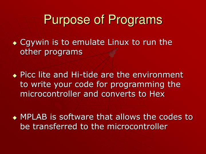 Purpose of Programs