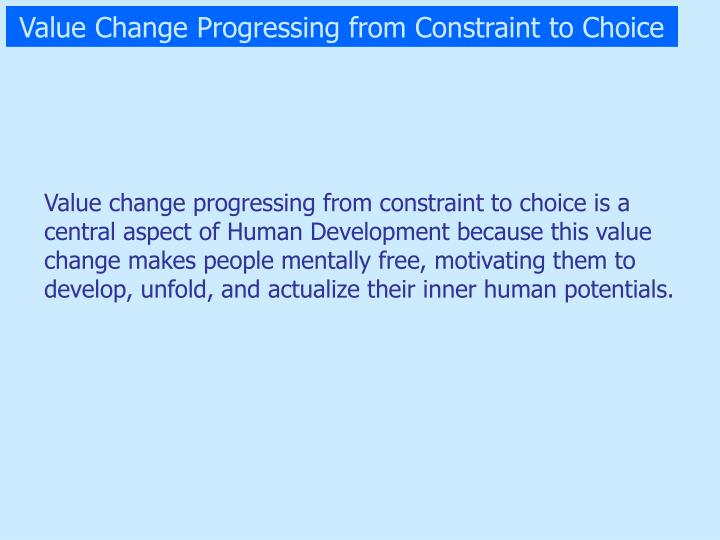 Value Change Progressing from Constraint to Choice