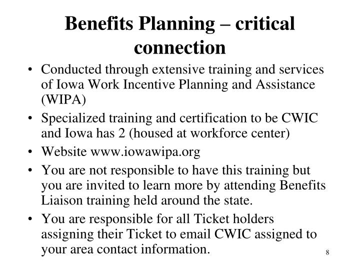 Benefits Planning – critical connection
