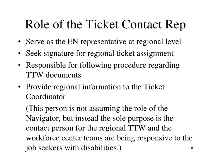 Role of the Ticket Contact Rep