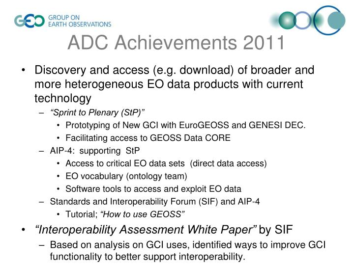 ADC Achievements 2011
