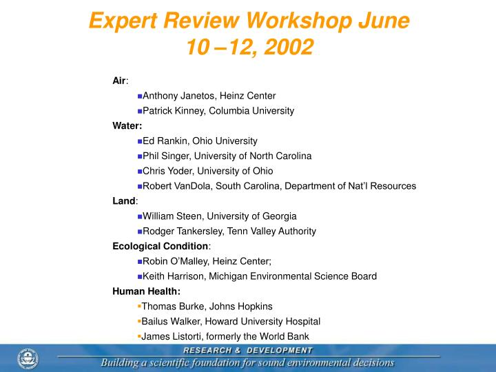 Expert Review Workshop June 10 –12, 2002