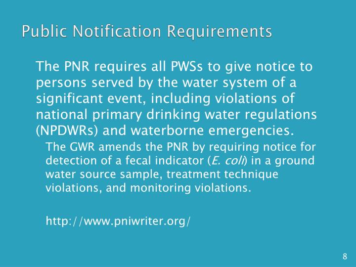 Public Notification Requirements