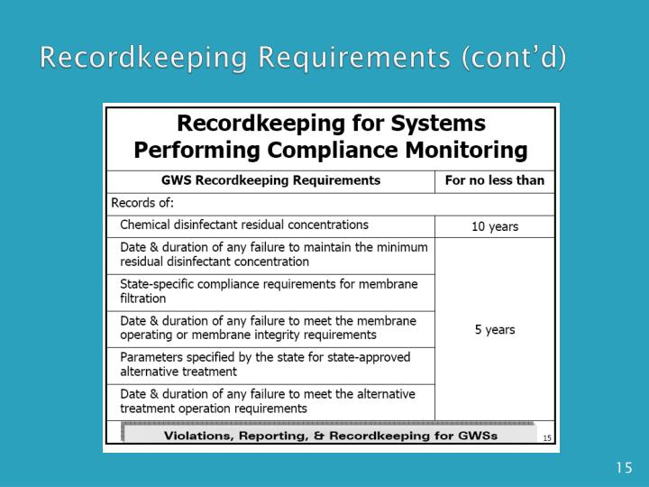 Recordkeeping Requirements (cont'd)