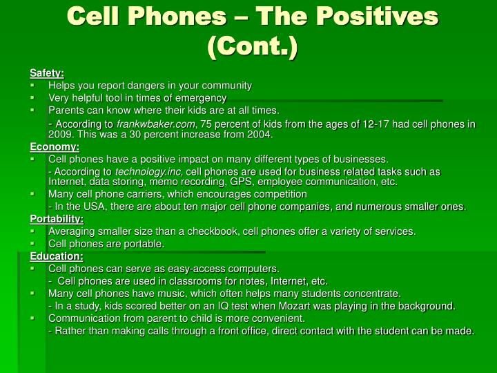 Cell Phones – The Positives