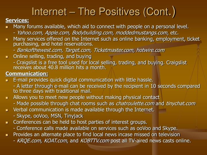 Internet – The Positives (Cont