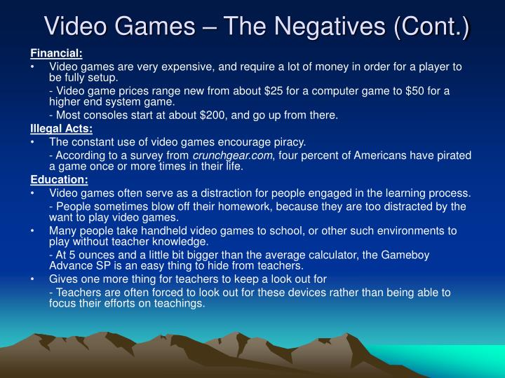 Video Games – The Negatives (Cont.)