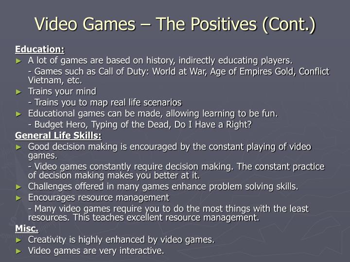Video Games – The Positives (Cont.)