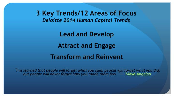 3 Key Trends/12 Areas of Focus