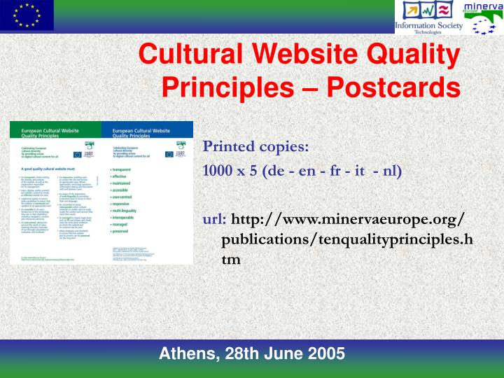 Cultural Website Quality Principles – Postcards