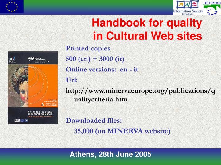 Handbook for quality