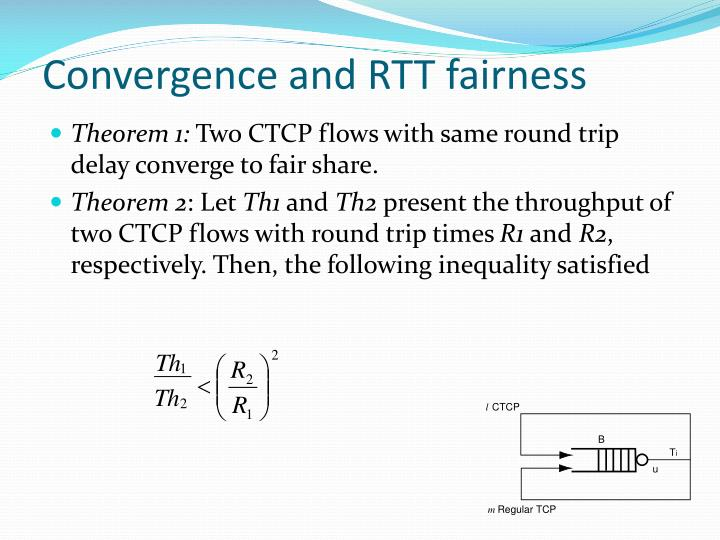 Convergence and RTT fairness