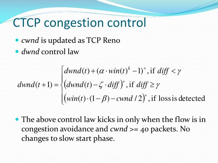 CTCP congestion control