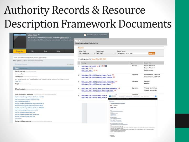 Authority Records & Resource Description Framework Documents
