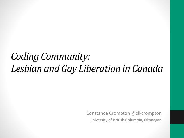 Coding community lesbian and gay liberation in canada