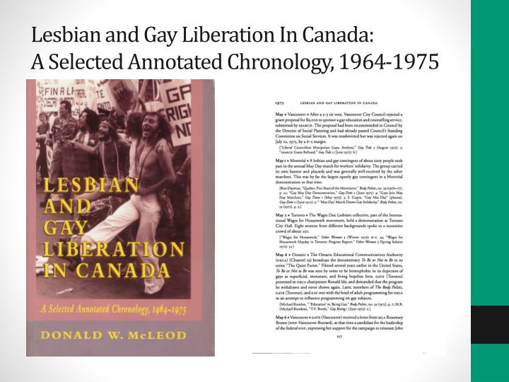 Lesbian and gay liberation in canada a selected annotated chronology 1964 1975