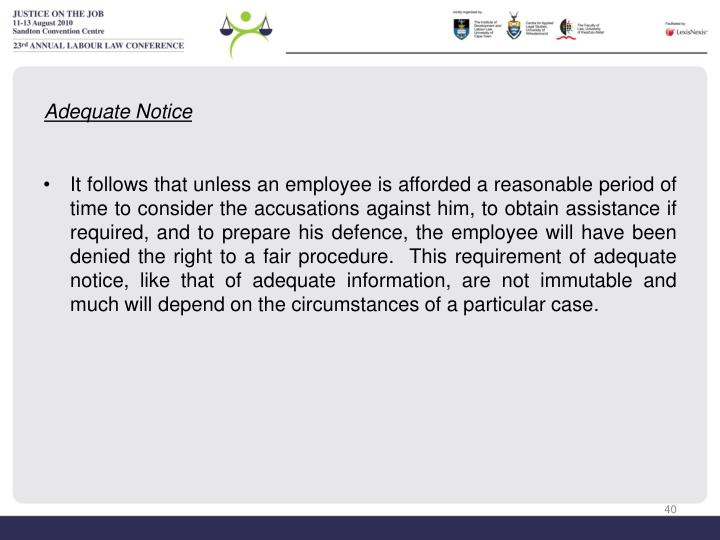 Adequate Notice