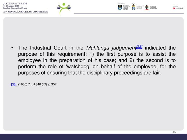 The Industrial Court in the