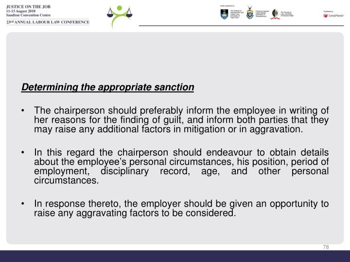 Determining the appropriate sanction