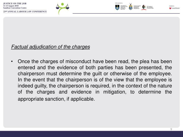 Factual adjudication of the charges
