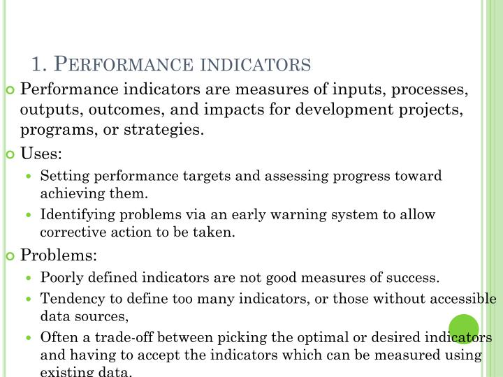 1. Performance indicators