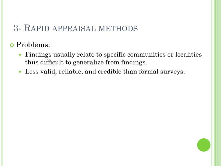 3- Rapid appraisal methods