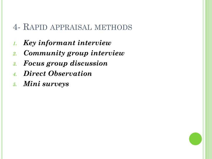 4- Rapid appraisal methods
