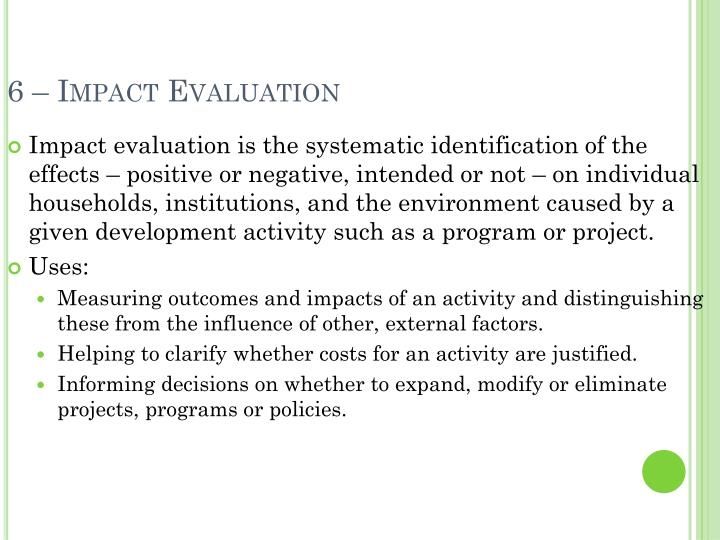 6 – Impact Evaluation