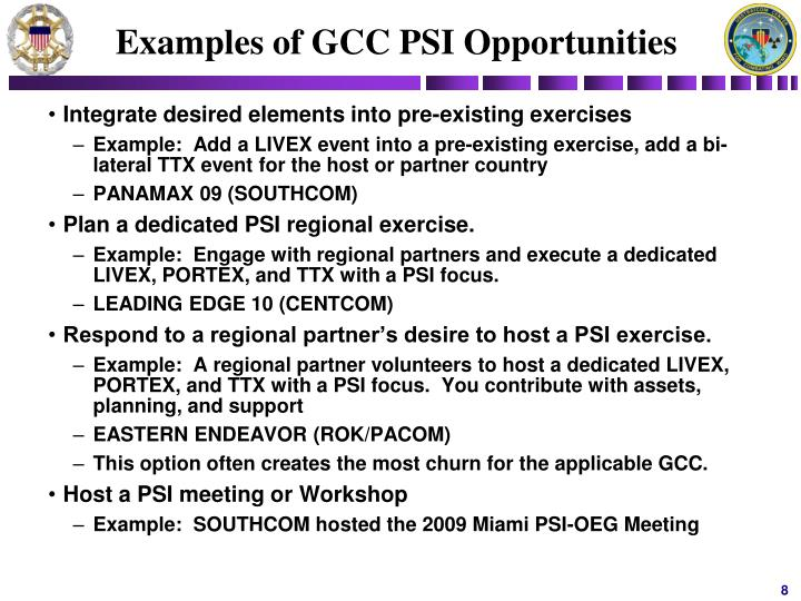 Examples of GCC PSI Opportunities