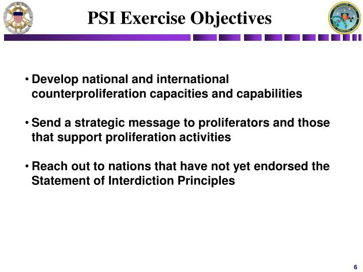 PSI Exercise Objectives