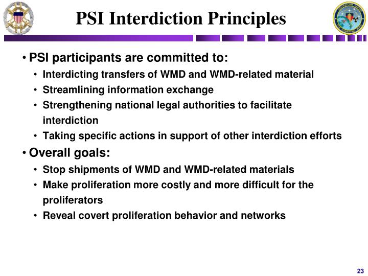 PSI Interdiction Principles